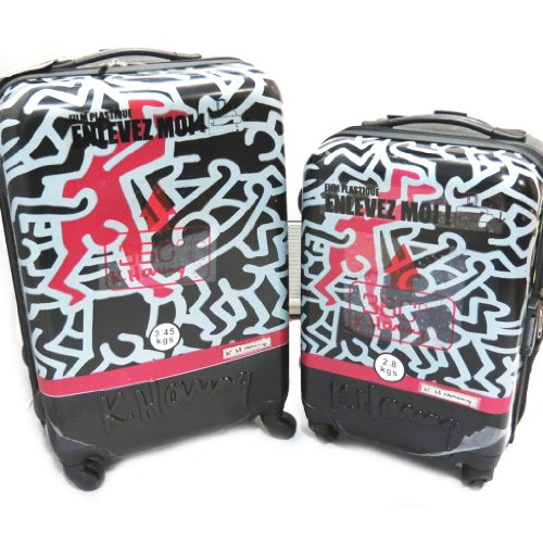Keith Haring [L4097] - Set 2 valises ABS 'Keith Haring' graffiti (46/56 cm)