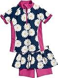 Playshoes Mädchen Badebekleidungsset UV-Schutz Bade-Set Margerite, Blau (Marine 11), 122 (Herstellergröße: 122/128)