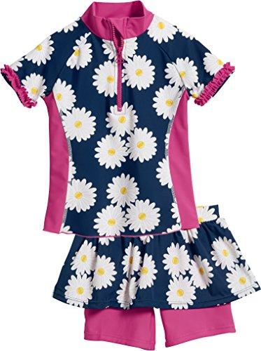 Playshoes Baby-Mädchen Badebekleidungsset UV-Schutz Bade-Set Margerite, Blau (Marine 11), 74 (Herstellergröße: 74/80)