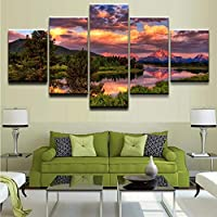 mmwin Modular Wall Art Poster Canvas HD Print A Beautiful Sunset and River of Trees Pictures 5 Pieces Home Decor