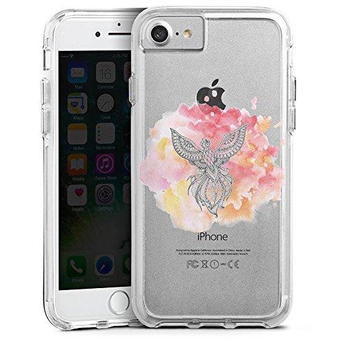 Apple iPhone 8 Bumper Hülle Bumper Case Glitzer Hülle Pfau Mandala Aquarell Bumper Case transparent