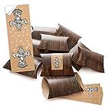 25 kleine Geschenkboxen Geschenk-Schachteln Weihnachten braun 14,5 x 10,5 cm ca. 3 cm + 25 Stück Banderolen Weihnachts-Aufkleber CHRISTKIND NATUR schwarz weiß beige 5 x 14,8 cm