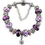 White Birch Murano Glass Bead Flower Charm Bracelet with Charm for Pandora Violet Lucky Clover