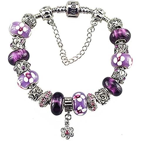 White Birch Chapado en plata Flor Charms pulseras abalorios para pandora mujer ni a Purple