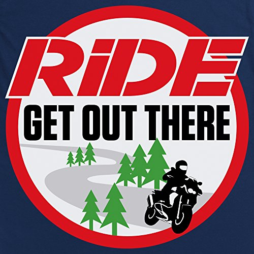 Official RiDE Magazine Large White Logo T-Shirt, Damen Dunkelblau