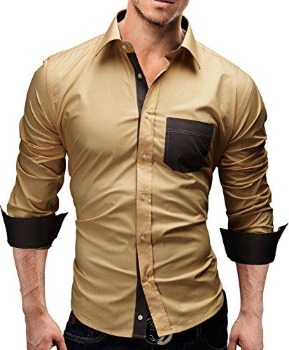 Merish Hemd Slim Fit 5 Farben Größen S-XXL Herren Modell 45 Beige
