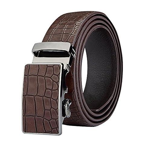Chnli Men's Fashion Adjustable One Piece Leather Ratchet Dress Belt