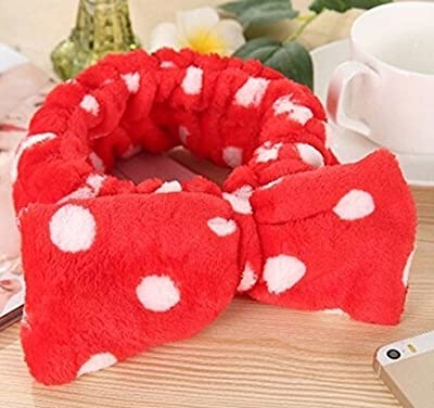 Women Fashion Sweet Lovely Coral Fleece Bowknot Makeup Cosmetic Hair Band Hairlace Headband Ultra Soft Face Washing Elastic Bow : everything 5 pounds (or less!)