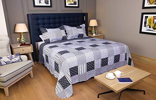 Restmor Tagesdecke Steppdecke mit Quilt Patchwork Design, Zweiseitig - Gesteppter Bettüberwurf - Erhältlich in 3 Größen mit Kissenbezug (Single (180x240cm), Jumana)