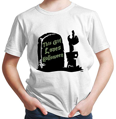 HARIZ  Jungen T-Shirt This Girl Loves Halloween Halloween Kostüm Horror Karneval Inkl. Geschenk Karte Rot 128/7-8 - Ninja Girl Kostüm Kinder