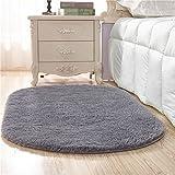 Creative Light Modern Einfach Dick Ovale Normallack Kurzhaar Teppiche Wohnzimmer Couchtisch Sofa Matten Schlafzimmer Nachttücher (Größe: 80cm * 200cm) (Farbe : Grau)