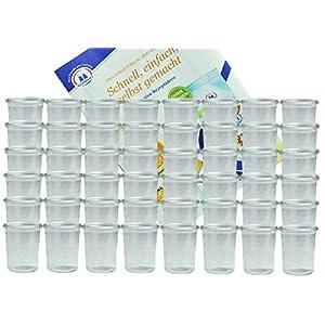 MamboCat 48er Set Weck Gläser 160 ml Sturzgläser incl. Diamant-Zucker Gelierzauber Rezeptheft