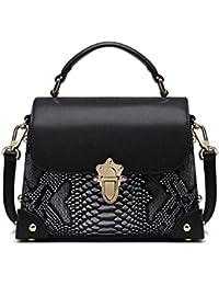188ffdb087124 Damen Leder Umhängetasche Handtasche Schlange Kleine Quadratische Tasche  Buckle Schulter Messenger Bag