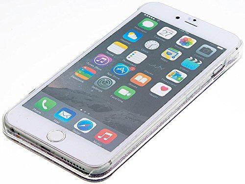 Nnopbeclik Silikon Transparent Hülle Für Apple Iphone 6 Plus, Durchsichtig Ultra Slim Weich TPU Cover Case Creative Flüssiger Sequins Diamant 3D Bling Bling Blume Case Etui, Schutzhülle Muster Glänzen Silber