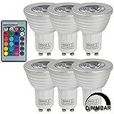 6X MENGS® GU10 3W LED RGB Lampe Birne SMD LEDs LED farbwechsel Licht Leuchtmittel mit IR-Fernbedienung (180lm, AC 85V - 265V, 50 x 61mm) - multicolor dimmbar inklusive Infrarot - Ferbedienung