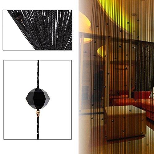 Demiawaking Dekorative String Vorhang Perlen Wand Panel Fringe Zimmer Tür Fenster (Schwarz)