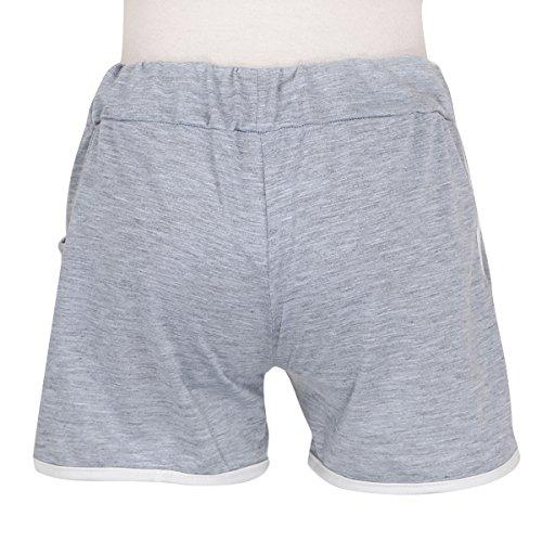 JNTworld Femme Casual Rétro Mini Short de Plage Jogging Yoga Sport Pantalons Gris