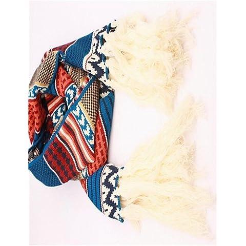 Xoe LE viento étnicos colorido de las mujeres que restaura las maneras antiguas para mantener cálida de lana de tejer la bufanda , multi-color-one-size ,