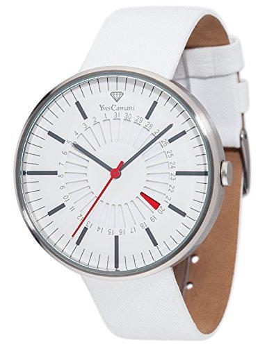 Yves Camani Morvan - Reloj de cuarzo para hombres, con correa de cuero de color blanco, esfera blanca