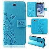 betterfon | Flower Case Handytasche Schutzhülle Blumen Klapptasche Handyhülle Handy Schale für Samsung Galaxy S3 / S3 Neo Blau