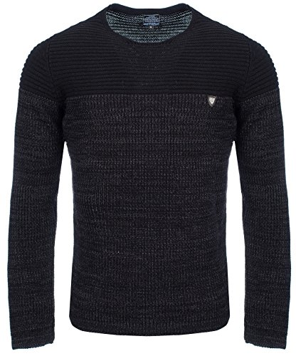 Carisma Herren - Strickpullover 7288 Streetwear Menswear Autumn/Winter Knit Knitwear Sweater CRSM CARISMA Fashion- Gr. XL, Black - Gestrickt Polo Neck Pullover