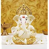 Gold Art India Gold Plated Terracotta Ganesha Idol (Off White)
