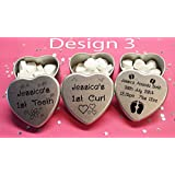 Personalised New Born Baby Boy or Girl Gift Set of 3 silver Heart tins with Babys Details and first Tooth and First Curl (Design 3, All With Mixed colour Chocolate dragees)