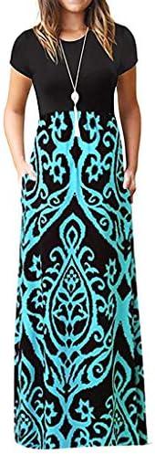 Fankle Maxi Dress for Women O Neck Ladies Vintage Bohemian Print Short Sleeve Loose Plain Long Maxi Casual Dre