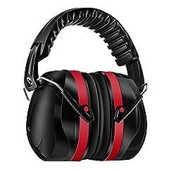 Idea Regalo - Homitt cuffie auricolari Cuffie antirumore con tecnologia di cancellazione del rumore per riprese, caccia, lavoro o costruzione - Rosso e nero