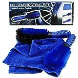 ZWICKER® Premium Felgenbürste 3er Reinigungset mit Mikrofasertuch I Autowaschbürste zur effektiven Felgenreinigung von Alufelgen | Bürste für Autoreinigung