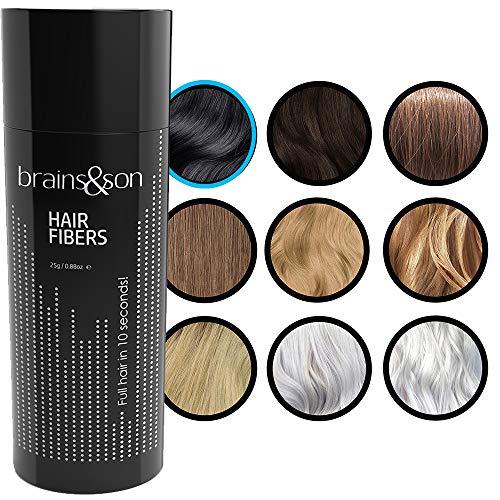 brains&son Streuhaar - Premium Haarverdichtung/Schütthaar mit Soforteffekt bei Geheimratsecken, Haarausfall und lichtem Haar - Haarpuder | 25g (Schwarz)