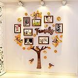 JWQT Fotobaum, Fotorahmen, Wanddekoration, Kinderzimmerdekoration, Kindergartendekorationsumwelt, Wanddekoration, dreidimensionales Klassenzimmer 3D, Stammbaum 1721 - orange Kaffee, groß