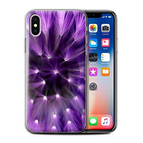 Stuff4 Gel TPU Hülle / Case für Apple iPhone X/10 / Rot Muster / Multi Farbe Licht Blume Kollektion Lila