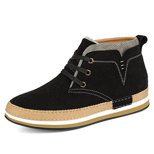 WZG cuir d'hiver haut-dessus chaussures dans les chaussures plus casual hommes britanniques suede hommes chauds peau de vache de velours Black