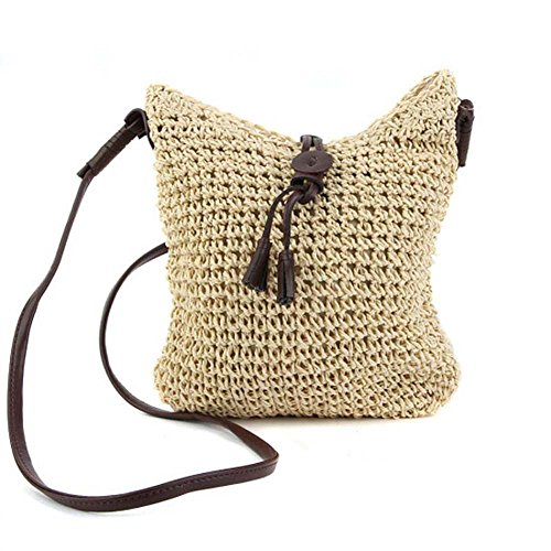 Hrph Fashion Woven Shoulder Bags Straw Summer Women Weave Crossbody Beach Travel Handbag