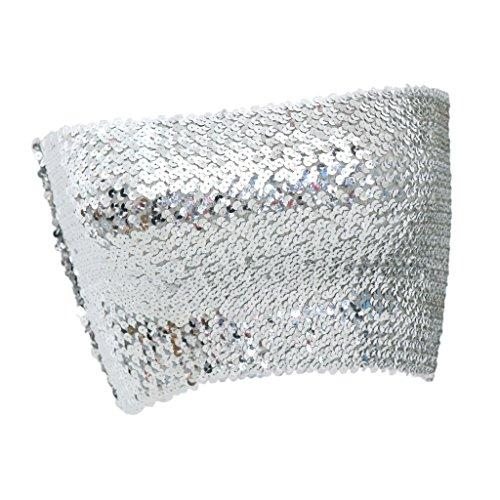 D DOLITY Damen Bauchtanz BH Tops Pailletten Kostüme Bauchtanz Tops Bra Ausgezeichnete Elastic 5 Farbe - Silber