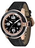 Glam Rock Unisex Quartz Watch with Black Dial Analogue Display and Black Leather Strap 0.96.2849