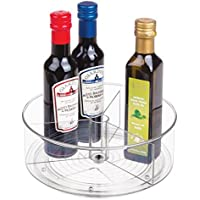 mDesign plateau tournant à 3 compartiments pour la cuisine – bac de rangement en plastique pour réfrigérateur, armoire…