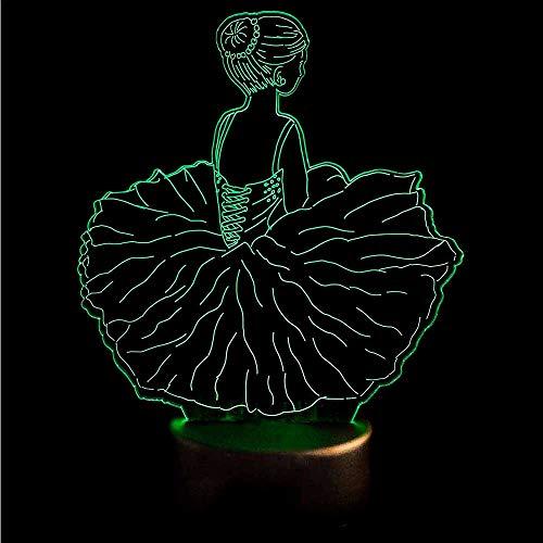 Dwthh 3D Led Schlafzimmer Dekor Nachtlichter Usb Rock Tabelle Leuchtende Baby Schlaf Visuelle Ballett Mädchen Modellierung Leuchten Kinder Geschenke