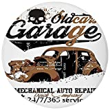 Round Rug Mat Carpet,Cars,Old Garage Mechanical Auto Repairs Truck Company Skull Grunge Display Decorative,Pale Brown Black White,Flannel Microfiber Non-slip Soft Absorbent,for Kitchen Floor Bathroom