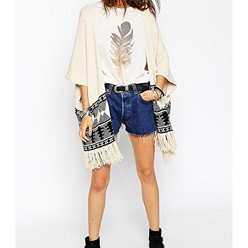 YUYU Mode d'impression femme Cardigan Sweater gland picture color