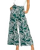 Ajpguot Damen Blätter Blumenmuster Weite Bein Lange Hose Strand Straight Leg Hosen mit Seitentaschen (Grün, M)