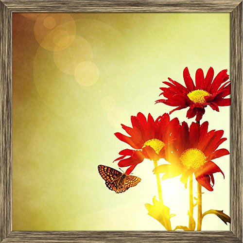 Pitaara Box Red Flowers & Butterfly Under Bright Sunny Sky Canvas Painting Antique Golden Frame 21 X 21Inch -