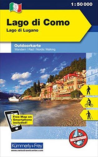 Preisvergleich Produktbild Lago di Como Lago di Lugano: Outdoor Karte Italien Nr. 9, 1:50 000 Freemap on Smartphone included (Kümmerly+Frey Outdoorkarte International)
