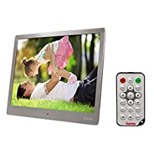 """Hama Cadre photo numérique """"97SLB"""" (26,64 cm, 9,74"""", slim Steel, pour carte SD / SDHC / MMC, USB 2.0, avec télécommande, lecture de musique/vidéo) Argent"""