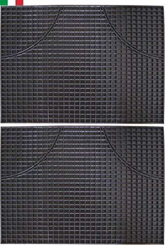 CENNI 32472 Lot de 2 Tapis Voiture en Caoutchouc rectangulaires 47 x 35, Sauve Tapis fabriqué en Italie