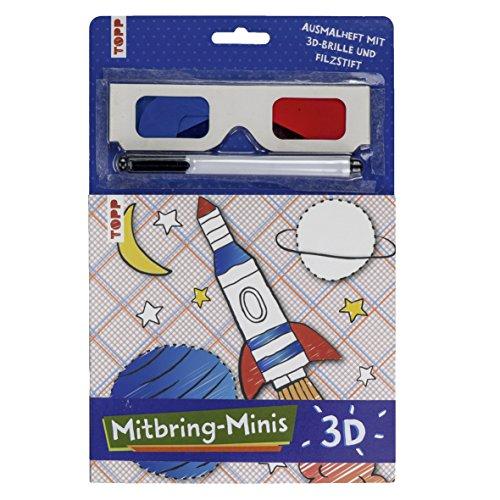 Mitbring-Minis 3D-Ausmalheft mit 3D-Brille und Filzstift: Ausmalheft (16x17 cm) mit 3D-Brille und Filzstift für zuhause und unterwegs