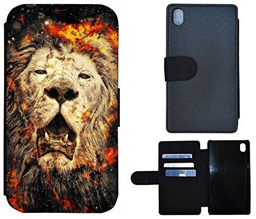 Schutz Hülle Flip Cover Handy Tasche Etui Case für (Apple iPhone 6 / 6s, 1117 Pfau Vogel Cartoon Grün Lila) 1115 Löwe Braun Schwarz Orange Feuer