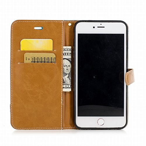 LEMORRY Cover Apple iPhone 7 Plus Custodia Pelle Portafoglio Cuoio Flip Borsa Con Slot per Schede Sottile Protettivo Magnetico Chiusura Morbido Silicone TPU Cover Case, Stile del denim Rosso Verde