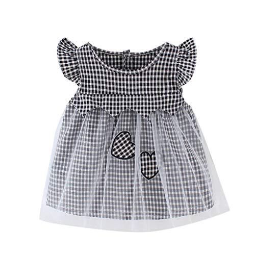 Angora Herz (YpingLonk Kleinkind Kind Baby Mädchen Plaid Herz gedruckt Tüll Party Prinzessin Kleid Kleidung Baby Kurzarm Flying Sleeve Plaid Liebe Spleißen Mesh-Kleid)